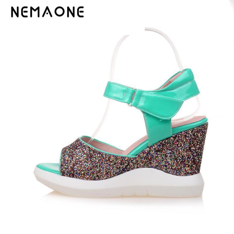 NEMAONE High Heel Slippers Summer Platform Wedge Sandals Fashion Sequin Women Casual Sandals Comfort High Heels Sandals high quality women comfort high heels slippers sandals platform shopping flip flop 170511
