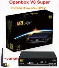 12 unids/lote Original Full HD 1080 P V8 Súper PowerVu DVB-S2 Receptor de Satélite Soporte Soporte Completo, APLICACIÓN de Red IPTV + USB WIFI