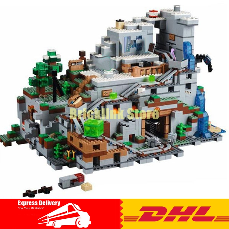 Lepin 18032 2932pcs My Worlds The Mountain Cave Building Block Compatible 21137 Brick Toy dhl lepin 18032 2932 pcs the mountain cave my worlds model building kit blocks bricks children toys clone21137 in stock