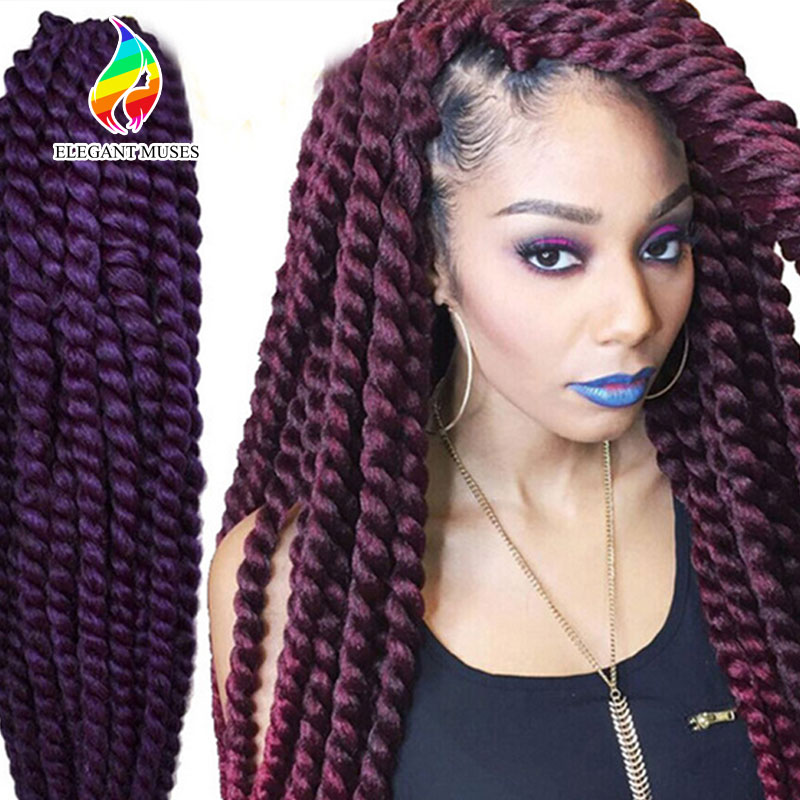 Hair Extension: 12 Inches to 24 Inches Synthetic Hair Braid Havana Mambo Mixed Colorful Synthetic Crochet Twist Jumbo Braiding Hair
