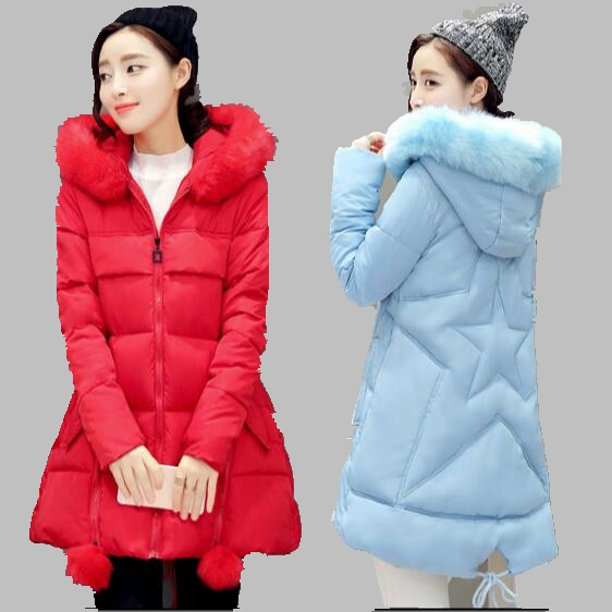 Winter Women Coat 2016 New Korean Large size Hooded Fur Collar Down Jacket Thick Warm Cotton