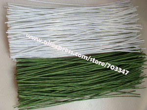 """Image 4 - Big Order Big Discount!! 600pcs X 20# Gauge Floral Stem Wire 9.4"""" In  Green And White"""