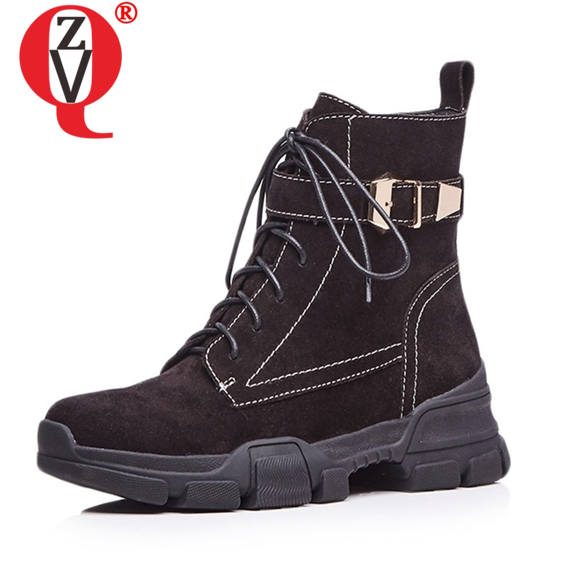 ZVQ newest genuine leather med wedges cross tied zipper round toe ankle boots outside casual winter