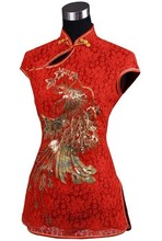 High Quality Red Lady Lace Embroidery Blouse Totem Pattern Shirt Tops Chinese Tang Suit Free Shipping Size S M L XL XXL J012-A