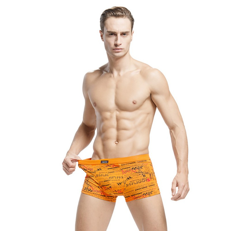 Low Price Hot Style Mens Breathable Trunks 4 Piece Gift Boxed Sexy Young Flat Pants Cofortable Printing Stretch Pants