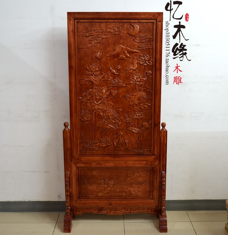 Landing screen May there be surpluses every year. Dongyang wood carving wood plaque vertical seat screen sitting screen Chinese on a chinese screen