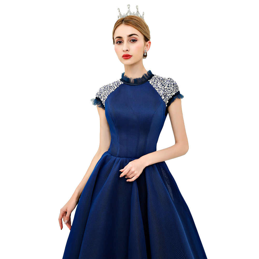 5f1681ff23 ... Ball Gown Ankle-Length 2018 Sexy Prom Dress New Stretch Composite Mesh  Vintage Cap Sleeve ...