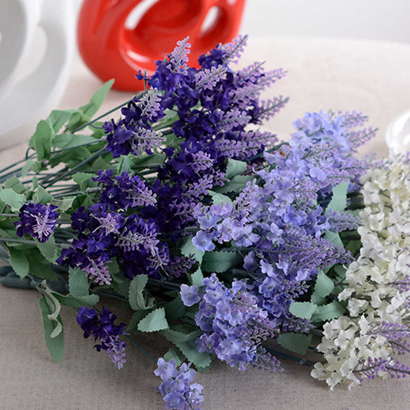 10 Heads Romantic Provence Lavender Silk Artificial Flowers Purple Bouquet Plastic Fake Flower White for Home Wedding Decoration