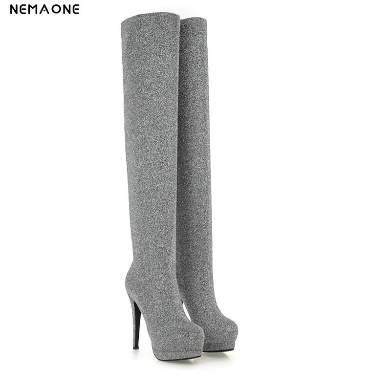 NEMAONE Sexy shiny super high heels over the Knee high Boots woman Winter Round Toe platform