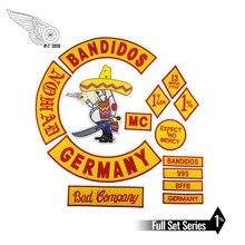 ขายร้อนผสม 14 ชิ้นชุดสำหรับ Bandidos MC แพทช์ปักเหล็กบนเสื้อหนังเสื้อกั๊ก Rider Punk Full กลับขนาด Patch G046