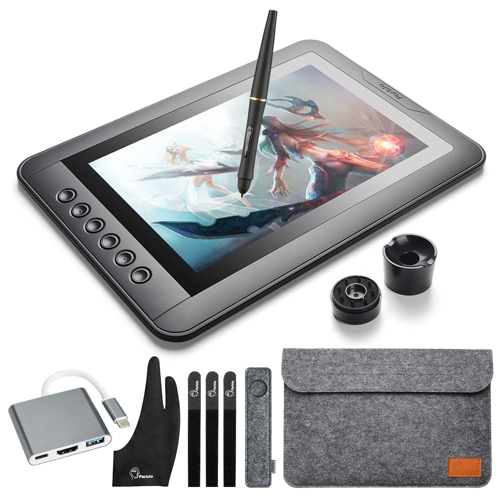 Parblo Mast10 10.1 inches Graphic Tablet Monitor with Shortcut Keys and Battery-free Pen Passive Stylus +USB 3.1 Type C Cable parblo mast10 10 1 inches graphic tablet monitor with shortcut keys and battery free pen passive stylus usb 3 1 type c cable