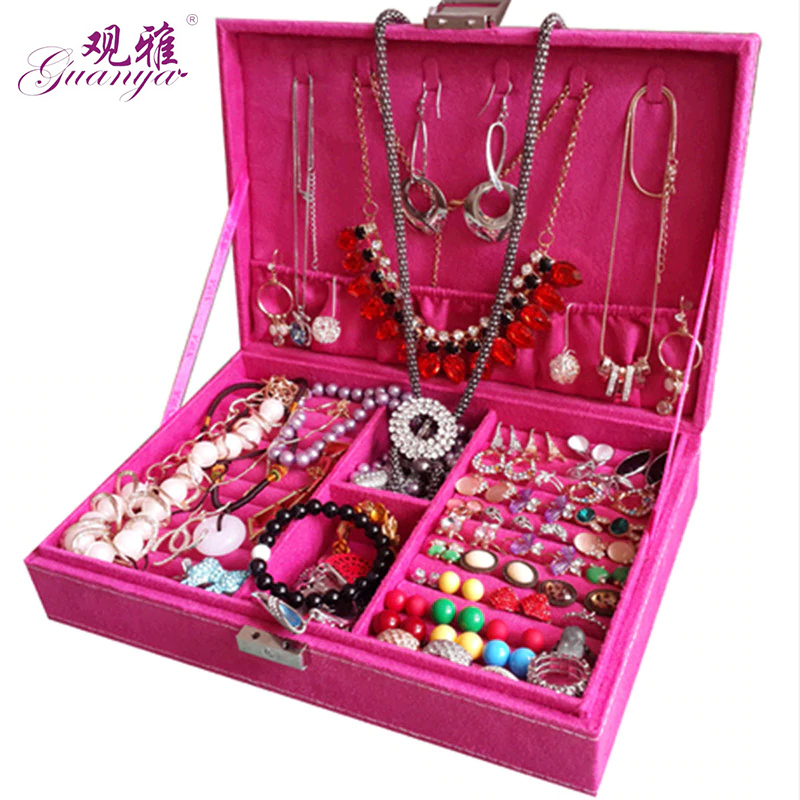 Fashion and noble Lovely princess jewelry box Korean style earrings storage case Portable flannelette jewelry organizer браслеты lovely jewelry браслет