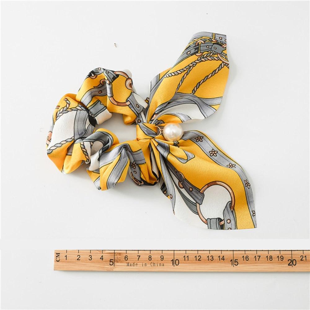 New Chiffon Bowknot Silk Hair Scrunchies Women Pearl Ponytail  3