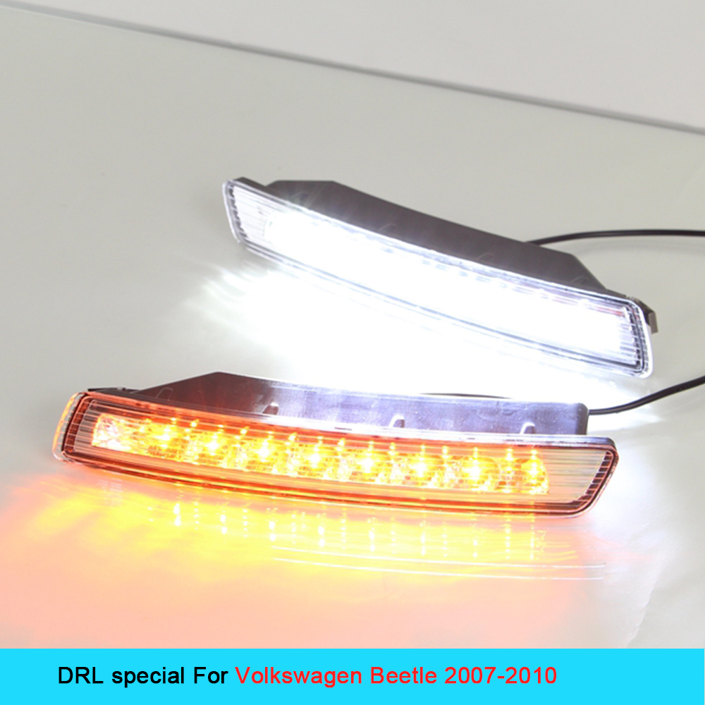 Car DRL Kit for VOLKSWAGEN BEETLE 2007~2010 LED Daytime Running Light bar fog lamp bulb Turn Signa light daylight car led drl new car drl kit for toyota vios 2014 2015 led daytime running light bar turn signal fog auto lamp bulb daylight for car led drl