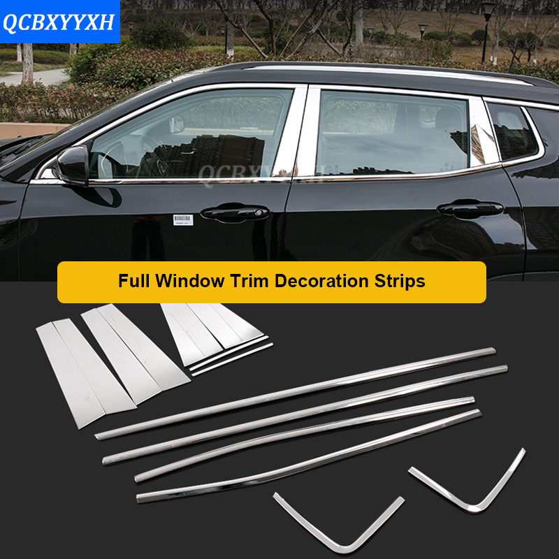 Car Styling Stainless Steel Full Window TrimCar Rear Door threshold Trim Decoration Strips For Jeep Compass 2017 Car sticker