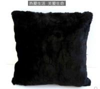luxury faux black fur pillowcase plush black cushion cover pillow covers home decoration living room