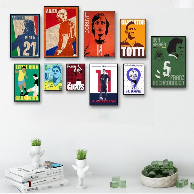 Football Star Pirlo Robben Cruyff Totti Beckenbauer Ronaldinho Canvas Poster Art Painting Picture for Children Living Room Decor bic 0.5 mm mechanical pencil