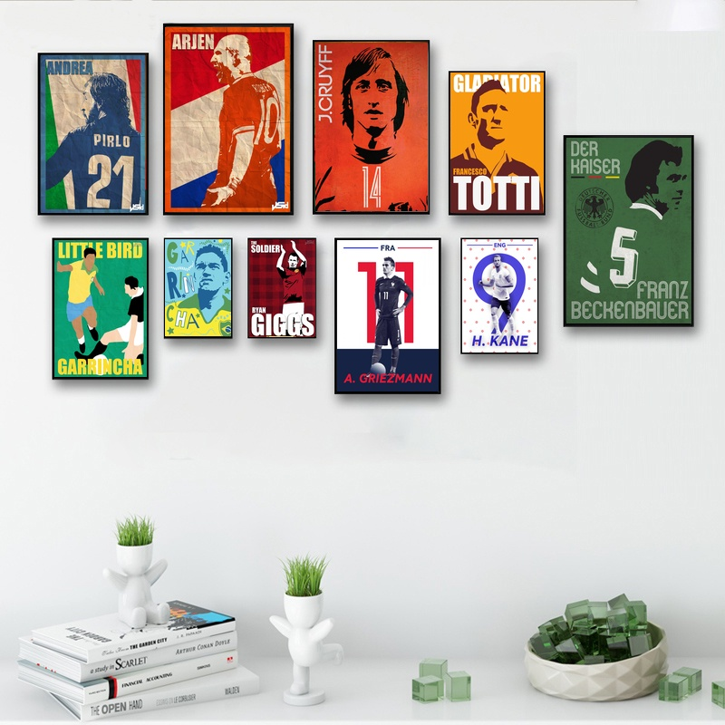 Football Star Pirlo Robben Cruyff Totti Beckenbauer Ronaldinho Canvas Poster Art Painting Picture For Children Living Room Decor