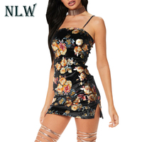NLW Lily Rosie Girl Sexy 2018 Velvet Floral Printing Mini Women Nightclub Slim Retro Short Dresses