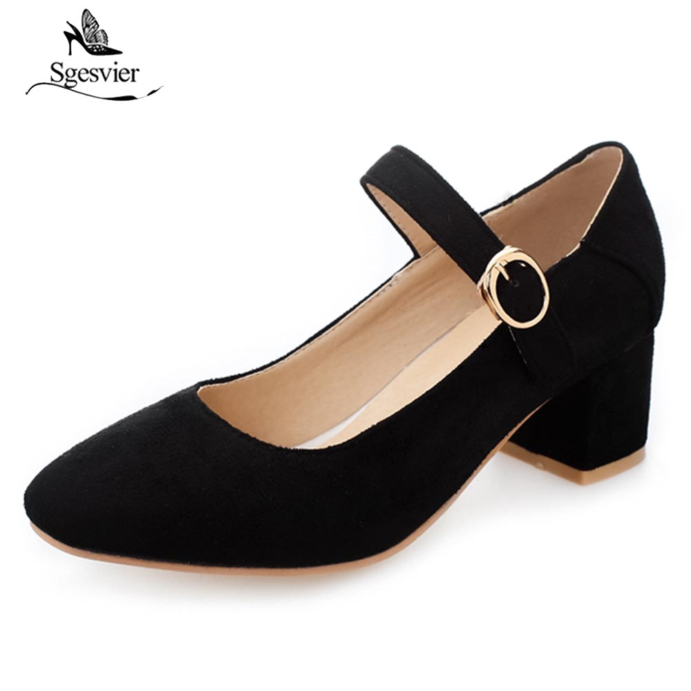 Sgesvier New Autumn Fashion Women Pumps Mary Janes Square Toe Shoes Female Square Heels Buckle Strap Pumps Big Size 30-50 OX520 цена 2017