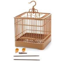 Bird Feeding Cage Breathable Bird Carrier Parrot Retro Square Travel Cage for Small Birds(China)