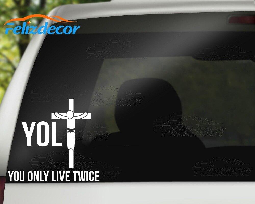Funny yolo jesus parody live twice vinyl sticker car decal rear windshield bumper waterproof car styling