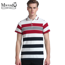 top quality Mwxsd brand summer casual men polo shirt striped cotton polo shirt male slim fit polos camisas polo masculino 4xl