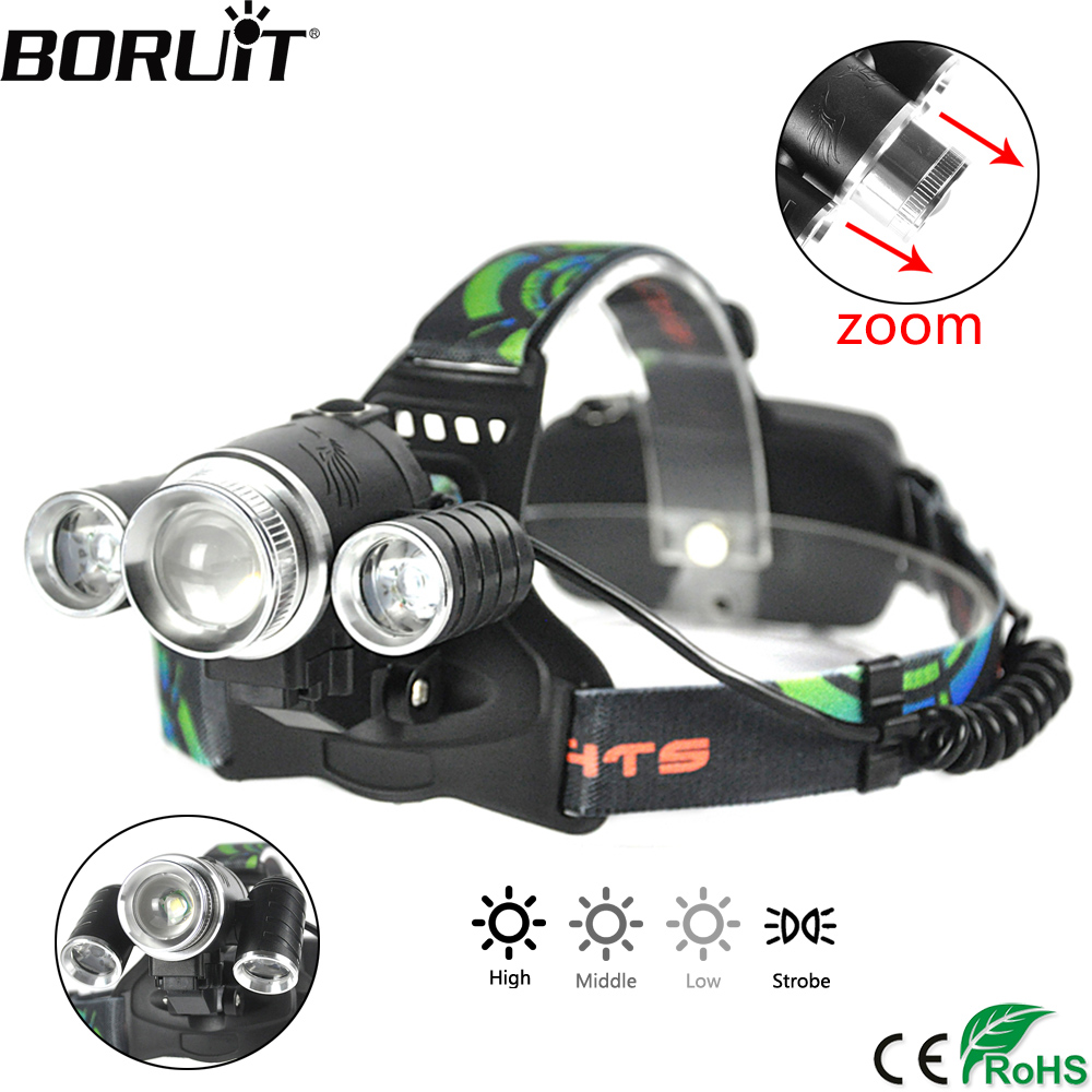 BORUiT 3000LM T6 XPE LED Headlamp 4-Mode Zoomable Headlight Rechargeable Head Torch Camping Hunting Flashlight Cycling Lights