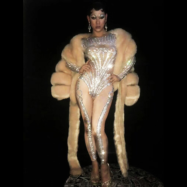 Sexy rhinestone water drill, elastic jumpsuit jacket and artificial fur coat, two pieces of a bar nightclub concert singer danc