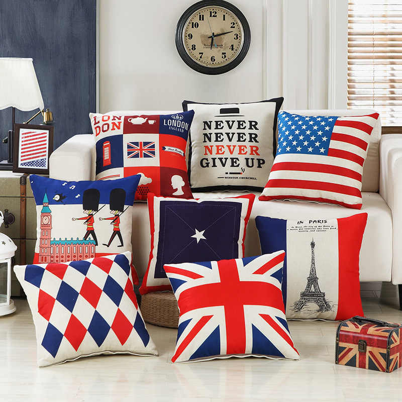 Detail Feedback Questions About Pillow Case Uk Usa Flag Paris Pillowcases Sofa Cushion Cover Letter Pattern Home Chair Seat Decorative 45 45cm On