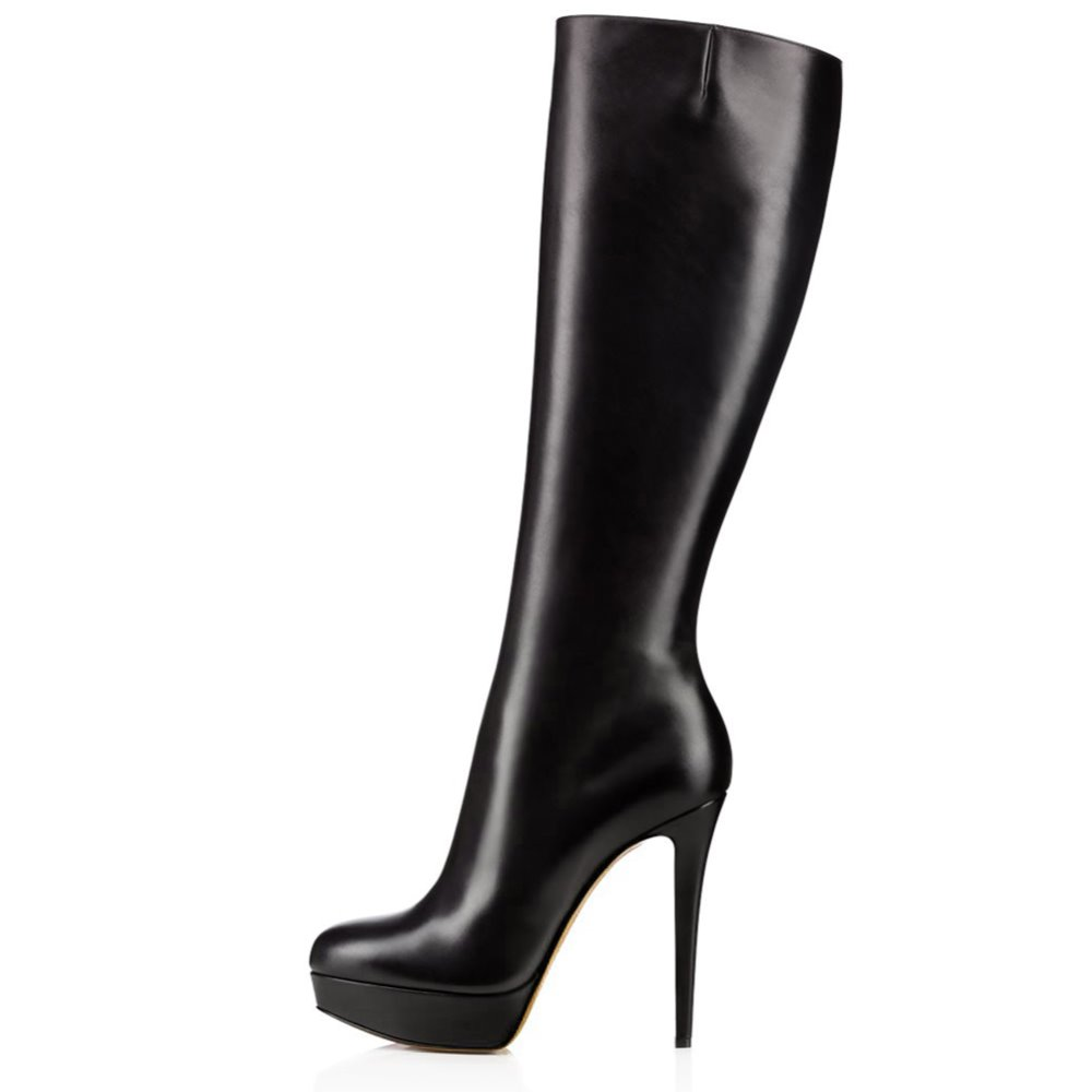 Black Round Toe Platform Knee High Boots for Women High Heel Winter Shoes Ladies Stiletto Heel Long Boots with Zipper 2018 extreme size 34 zipper booties black ankle high heel platform women boots winter 2017 stiletto shoes round toe ladies fashion