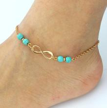 2017 Turquoise Beads Silver Chain Anklet Silver Plated Ankle Bracelet Foot Jewelry for Women wholesale D4599a