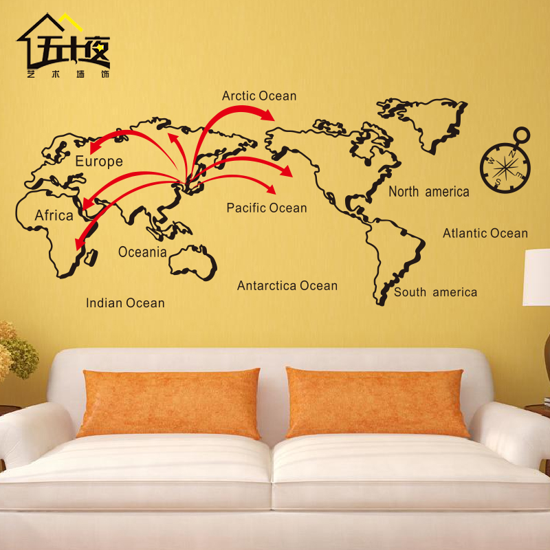 Free Shipping Lines Personalized World Map Wall Sticker Letters ...