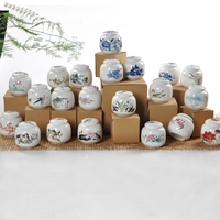 High Quality Ceramic Tea Caddy Blue And White Porcelain Bottles Storage Tank Small Snacks Sealed Cans