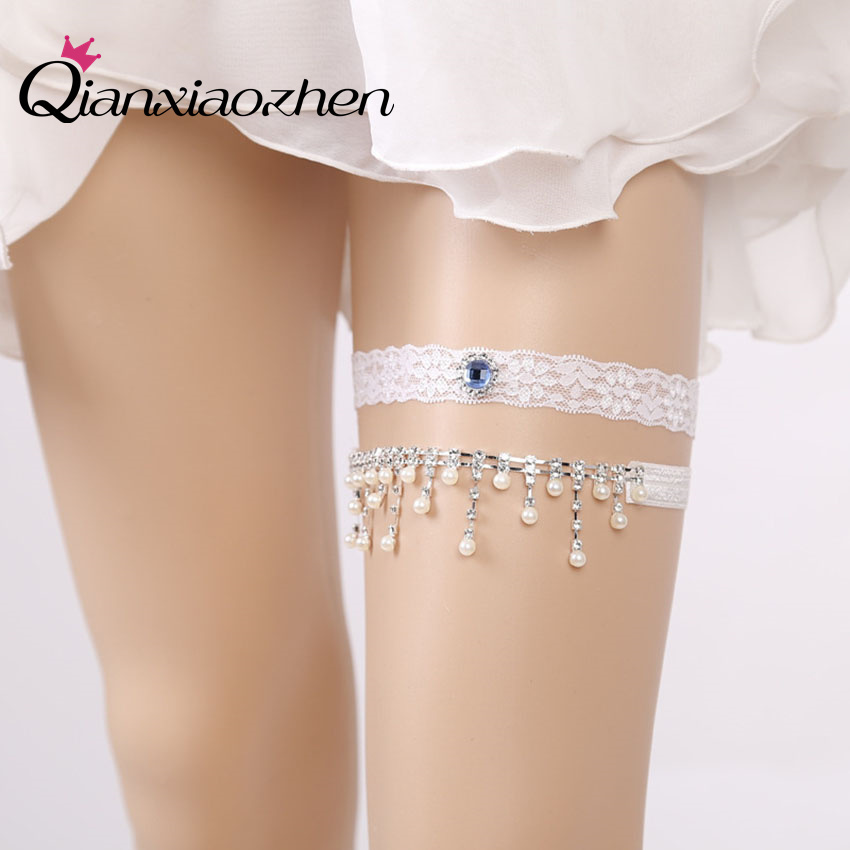 Wedding Leg Garter: Qianxiaozhen 2pcs/set Rhinestone Lace Leg Wedding Garter