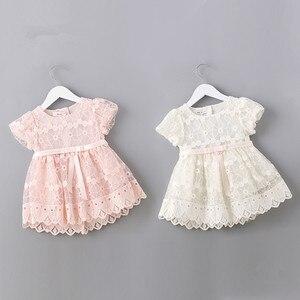 Image 3 - Flores recém nascidos bordado puff manga meninas vestido baptizado festa de aniversário roupas do bebê da criança menina rosa branco 0 2 t