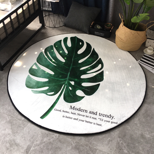 Nordic Minimalist Banana Leaf Mats Round Coffee Table Rug Creative - Banana leaf coffee table