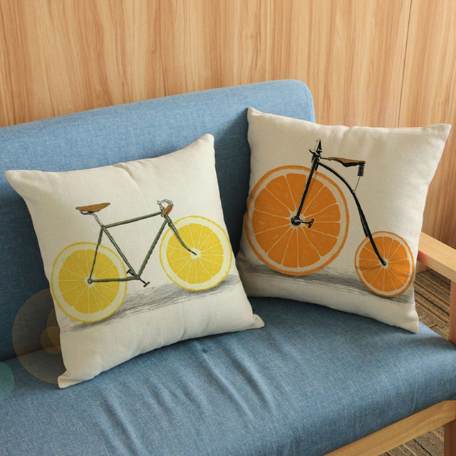 Simple Lemon Orange Wheels Bike Throw Pillow Cases For Living Room Linen Cotton Sofa Seat