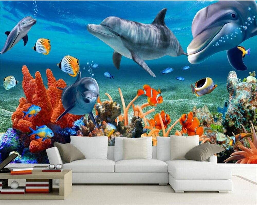 Photo Wallpaper 3D Underwater World Dolphin Mural Wallpaper Living Room Kids Room Bedroom Sofa 3d Wallpaper Mural Beibehang