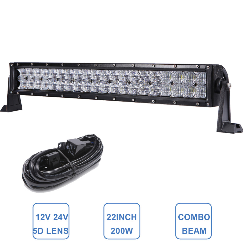20'' 200W Offroad LED Light Bar Car SUV Boat ATV Wagon Camper Truck Trailer Tractor Pickup 4X4 4WD Lighting 12V 24V Driving Lamp 32 300w curved led bar combo offroad driving light atv suv 4x4 truck trailer camper tractor pickup wagon utv 4wd off road lamp