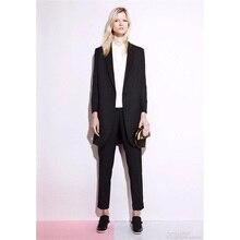 Black Women 2 Pieces Sets Female Business Suit Formal OL Long Sleeve and Long Jaxket Slim Fit Trouser Suit Custom Made