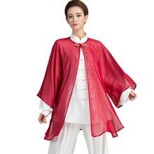 7 цветов шифоновая вуаль с горячей фиксацией Стразы для тайцзи костюм униформа для тайцзи ушу вуаль кунг-фу одежда для женщин