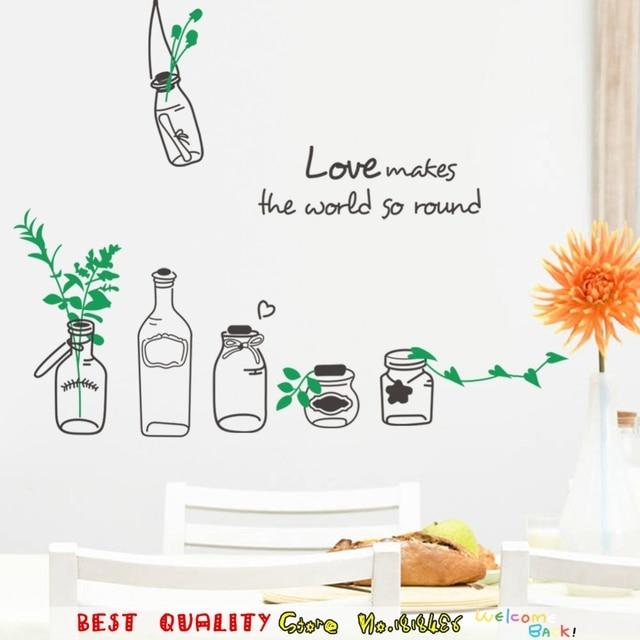 Beautiful love drift bottle designs wall stickers home decoration wall art decals sticker kitchen restaurant