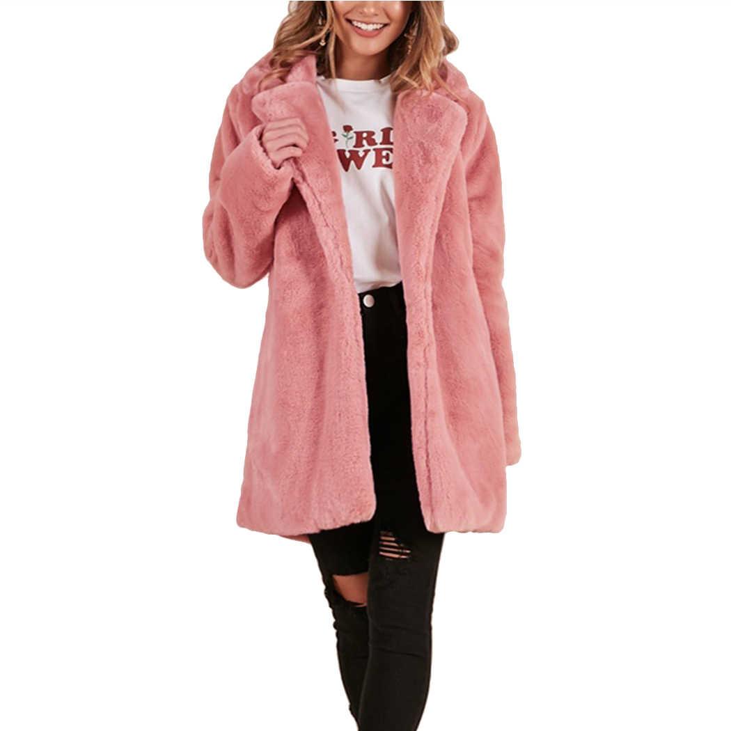 cea746ebd55 Winter Thick Warm Women Pink Long Faux Fur Coat Turn Down Collar Female  Hairy Furry Overcoat