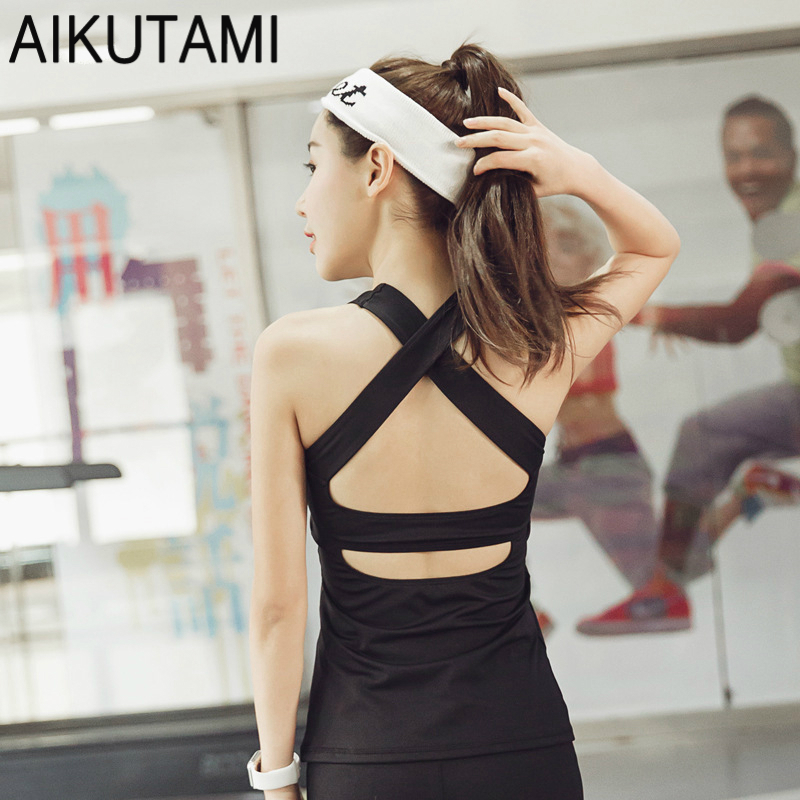 New Yoga Shirt Women Yoga Tank Top Sexy Back Cross with Pad Gym Fitness Sports Vest Gym Clothing for Women Yoga Tops S M L XL
