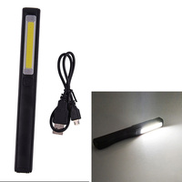 Rechargeable COB LED Flashlight Work Light Strong Magnetic Rotation Hook Pen Flashlight Camping Mini Light Lamp