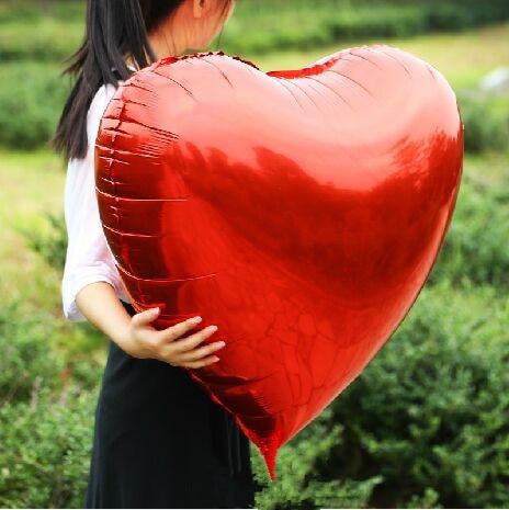 Düğün Dekorasyon Helyum Balonlar Büyük Kırmızı Kalp Shapped - Tatiller ve Partiler Için - Fotoğraf 5