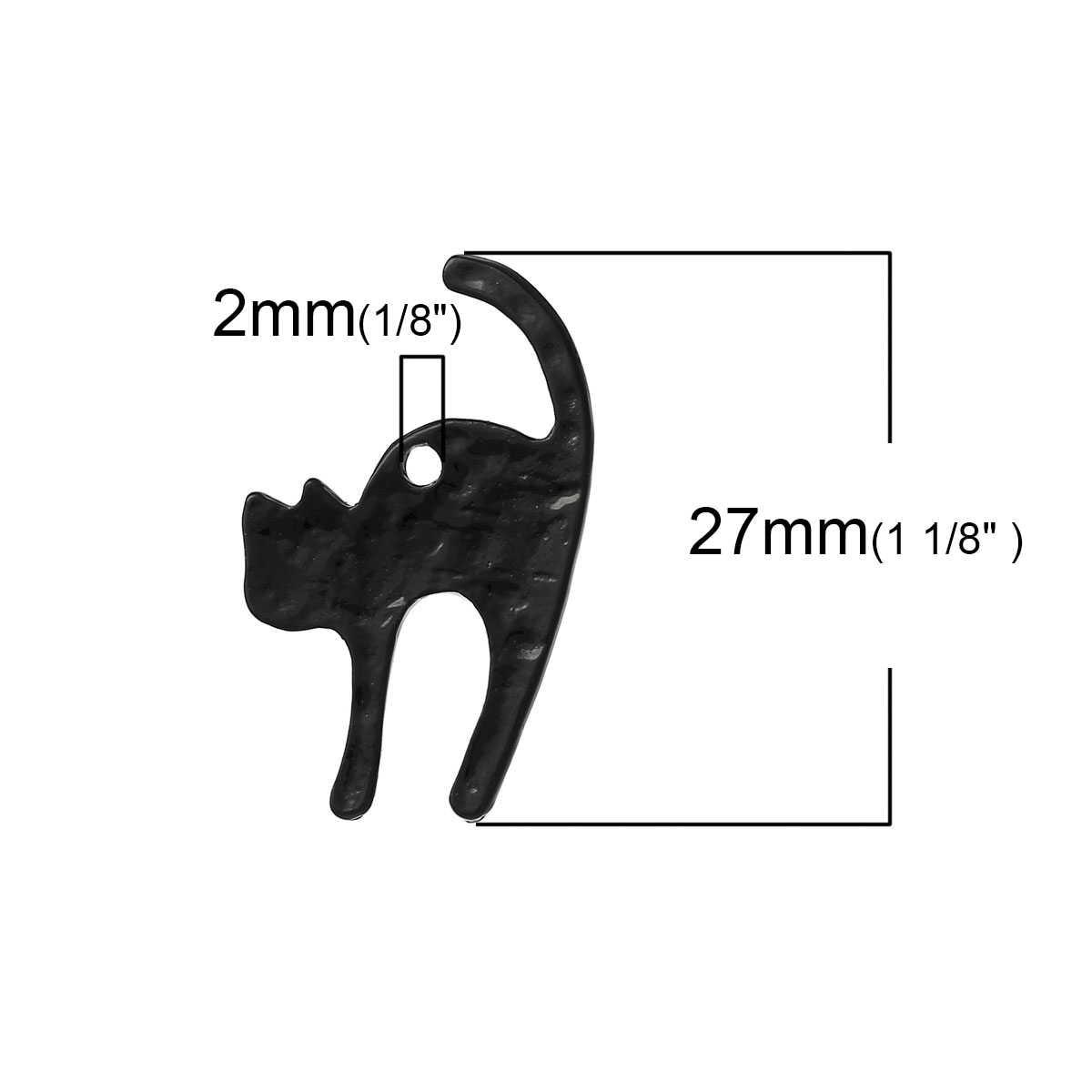 """โลหะผสมสังกะสี Charm จี้แมวสีดำ 27 มม.(1 1/8 """") x 17 มม.(5/8 """"),2 PCS"""