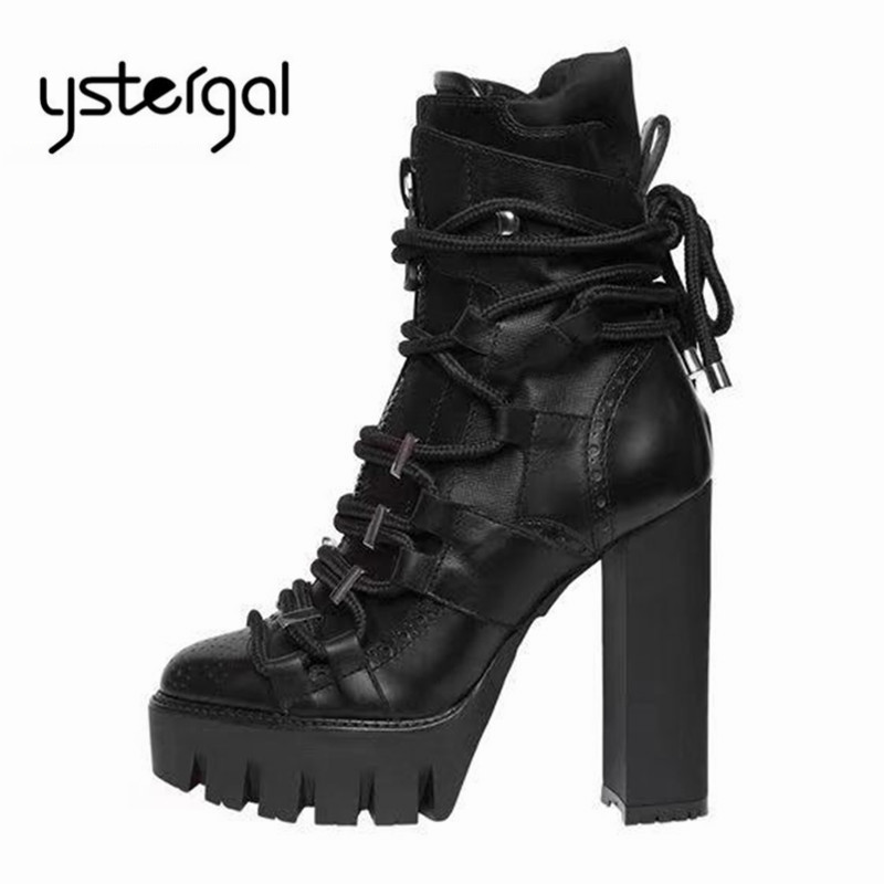 Ystergal 2019 New Genuine Leather Women Ankle Boots 12CM Chunky High Heels Lace Up Women Platform
