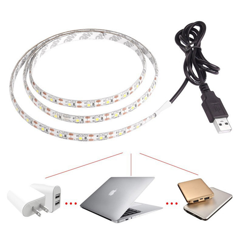 Usb 5 V Led Strip 5050 Tv Achtergrond Verlichting 50 Cm/1 M/2 M 60 Leds/M Warm Wit/Wit Usb Kabel Met Schakelaar Strip Set